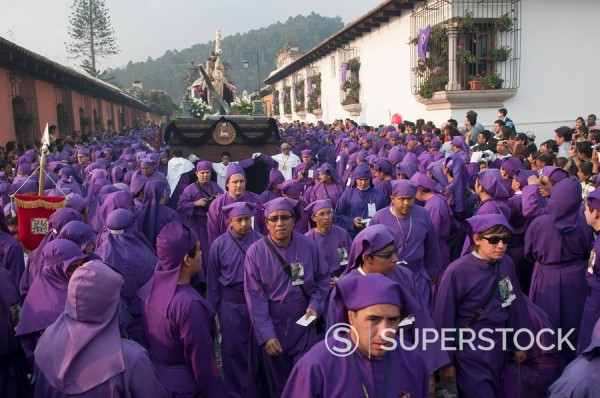 Holy Week Procession, Antigua, Guatemala, Central America : Stock Photo