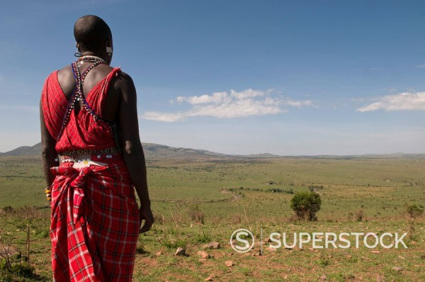 Stock Photo: 1890-98283 Masai man, Masai Mara, Kenya, East Africa, Africa
