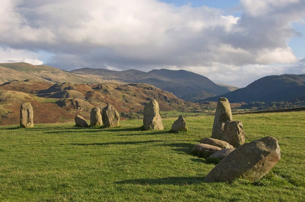 Stock Photo: 1890-98380 St. Johns in the Vale and the Helvellyn Range from Castlerigg Stone Circle, near Keswick, Lake District National Park, Cumbria, England, United Kingdom, Europe