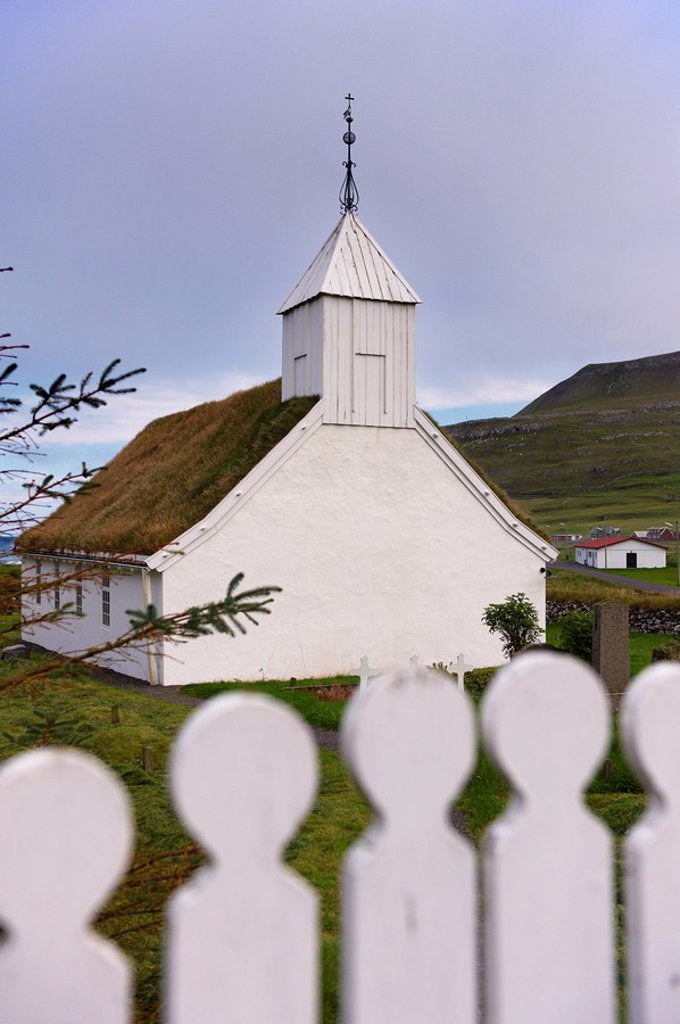Stock Photo: 1890-99431 Turf_roofed church at Husavik, Sandoy, Faroe Islands Faroes, Denmark, Europe