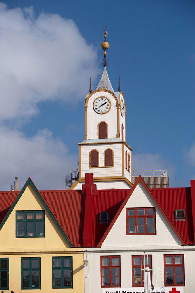 Stock Photo: 1890-99489 Colourful gabled buildings and Havnar Kirkja Torshavn´s cathedral along the quayside in Vestaravag harbour, Torshavn, Streymoy, Faroe Islands Faroes, Denmark, Europe