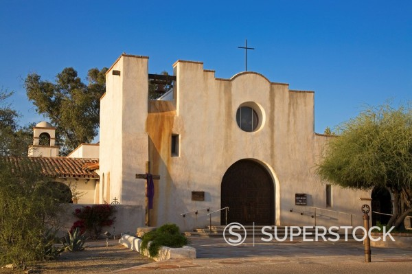 St. Philip´s in the Hills Church, architect Josias Joesler, Tucson, Pima County, Arizona, United States of America, North America : Stock Photo