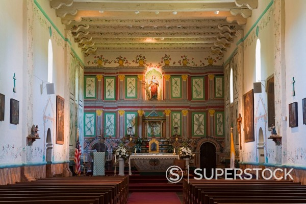 Church interior, Old Mission Santa Ines, Solvang, Santa Barbara County, Central California, United States of America : Stock Photo