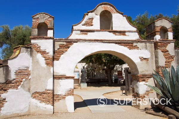 Stock Photo: 1890-99809 Entrance to Mission San Miguel Arcangel, San Miguel, California, United States of America, North America