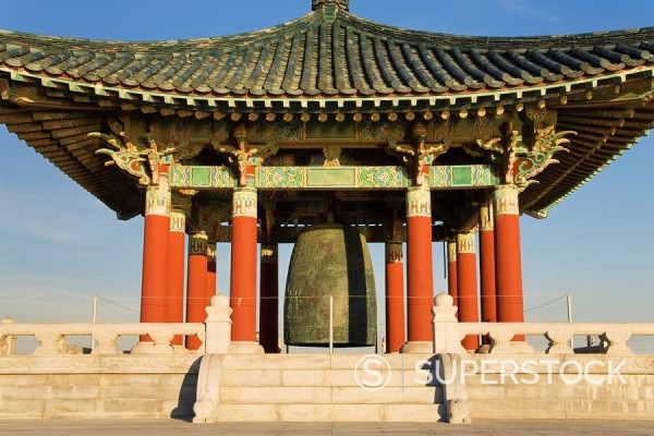 Korean Friendship Bell in Fort MacArthur Park, San Pedro, Los Angeles, California, United States of America, North America : Stock Photo