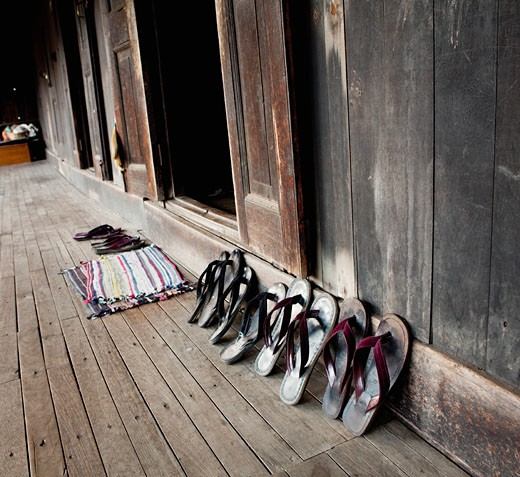 Slippers outside a monastery, Myanmar : Stock Photo