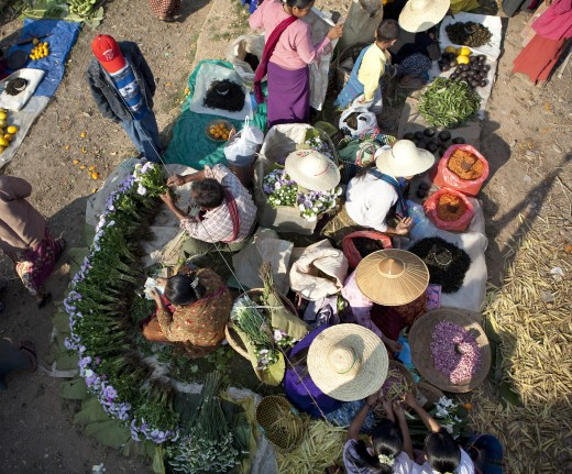 High angle view of a street market, Myanmar : Stock Photo