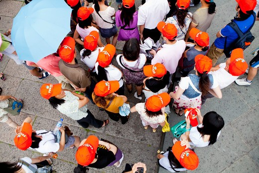 High angle view of  tourists, Forbidden City, Beijing, China : Stock Photo