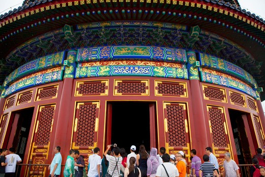 Tourists in a temple, Temple Of Heaven, Beijing, China : Stock Photo