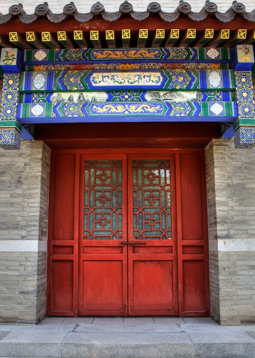 Facade of a building, Xi'an, Shaanxi Province, China : Stock Photo