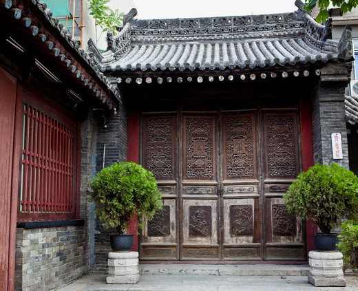 Stock Photo: 1891-254 Potted plant in the courtyard of a building, Xi'an, Shaanxi Province, China