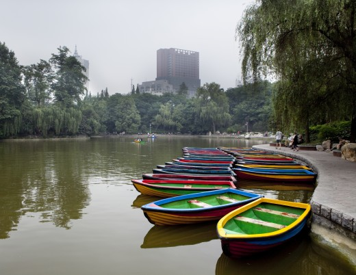 Stock Photo: 1891-263 Boats in a lake, Chengdu Park, Chengdu, Sichuan Province, China