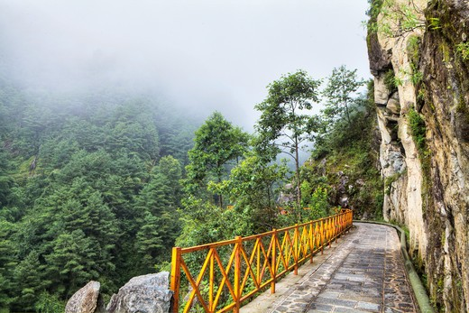 Pedestrian walkway on a cliff, China : Stock Photo