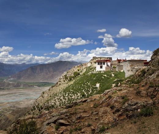 Temple on a hill, Tibet, : Stock Photo