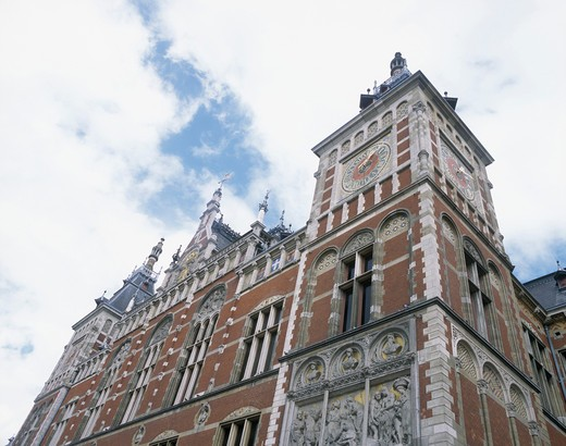 Stock Photo: 1893-148 Low angle view of a building, Amsterdam Central Station, Amsterdam, Netherlands