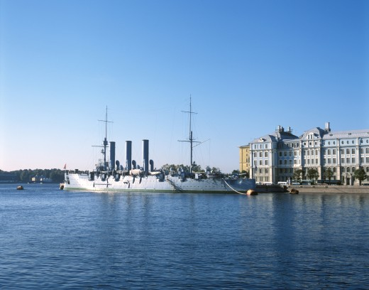 Russian cruiser Aurora in the river, Neva River, St. Petersburg, Russia : Stock Photo