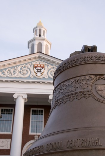 Bell in front of a library, Baker Library, Harvard Business School, Boston, Massachusetts, USA : Stock Photo