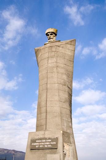 Low angle view of a memorial, Caucasus Man Statue, North Caucasus, Caucasus Region, Russia : Stock Photo