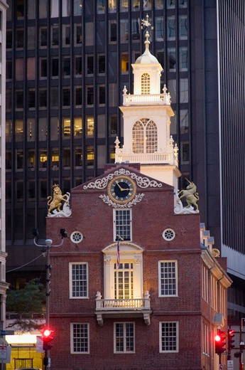 Stock Photo: 1893-360 Low angle view of a government building, Old State House, State Street, Boston, Massachusetts, USA