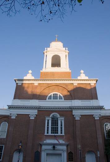 Low angle view of a church, St. Stephen's Church, Hanover Street, North End, Boston, Massachusetts, USA : Stock Photo