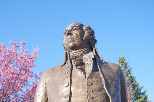 Stock Photo: 1893-371 Low angle view of a statue of John Adams at Quincy Center, Quincy, Massachusetts, USA