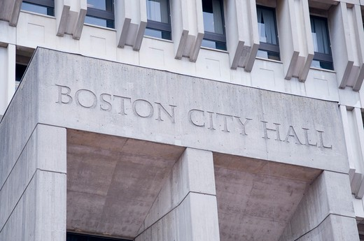 Low angle view of Boston City Hall, Government Center, Boston, Massachusetts, USA : Stock Photo