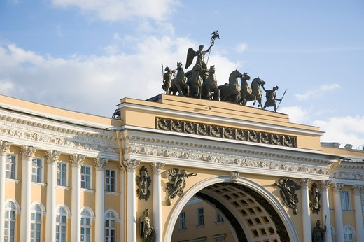 Stock Photo: 1893-441 Low angle view of a building, General Staff Building, State Hermitage Museum, Palace Square, St. Petersburg, Russia