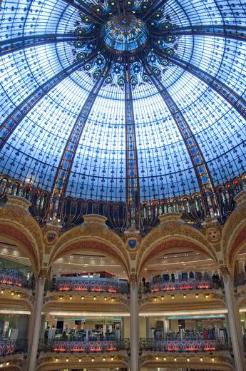 France, Paris, Interior of Galeries Lafayette : Stock Photo
