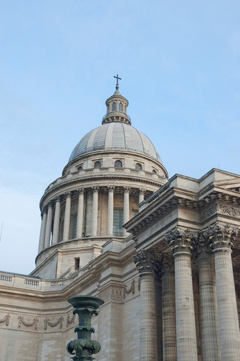 France, Paris, Latin Quarter, Low angle view of Pantheon : Stock Photo