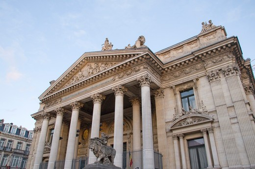 Stock Photo: 1893-757 Belgium, Brussels, Low angle view of La main entrance to Brussels Stock Exchange La Bourse