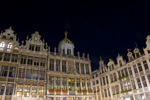 Belgium, Brussels, Architectural detail in Place Grand : Stock Photo
