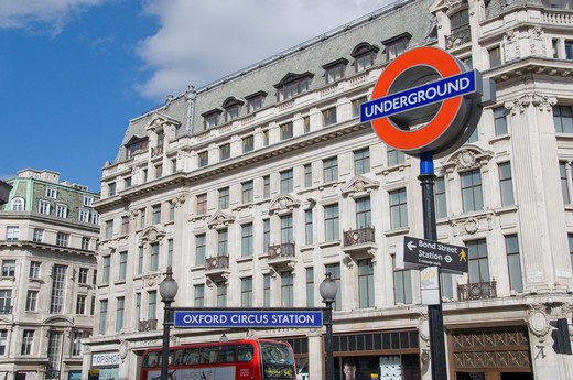 Stock Photo: 1893-776 UK, London, Underground station sign at corner of Regent Street and Oxford Circus