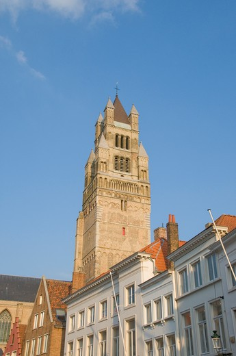 Low angle view of a church, Sint-Salvator Cathedral, Market Square, Bruges, West Flanders, Flemish Region, Belgium : Stock Photo
