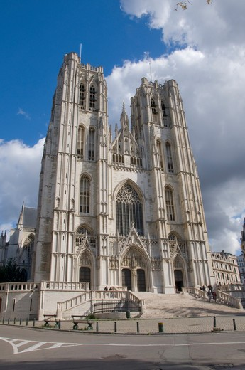 Stock Photo: 1893-839 Low angle view of a church, St. Michael and Gudula Cathedral, Brussels, Belgium