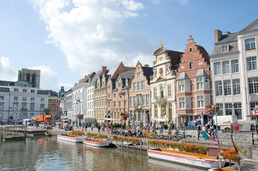 Stock Photo: 1893-840 Buildings at the waterfront, Scheldt River, Ghent, East Flanders, Flemish Region, Belgium