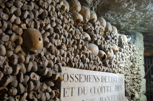 Stock Photo: 1893-846 Human skulls lining the walls of the ancient Catacombs in Paris, Ile-de-France, France