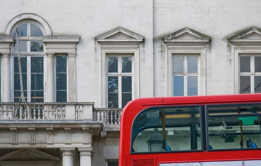 Double-decker bus in a street, Piccadilly, City Of Westminster, London, England : Stock Photo