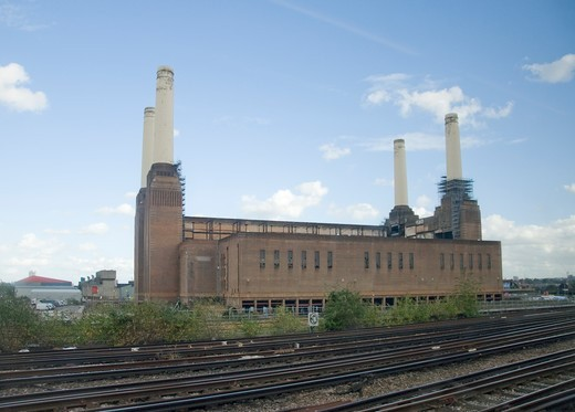 Stock Photo: 1893-947 UK, England, London, Battersea Power Station, a decommissioned coal-fired power station located on the south bank of the River Thames, in Battersea,