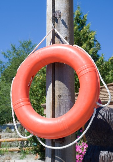 Canada, Ontario, Tobermorey, Life buoy : Stock Photo