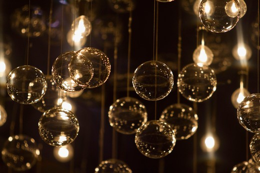 Close-up of lit up bulbs and bubbles : Stock Photo