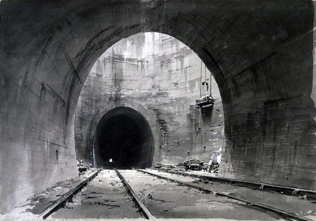 Great Ventilating Shaft, Kilsby Tunnel, Northamptonshire, 1837-1838. : Stock Photo