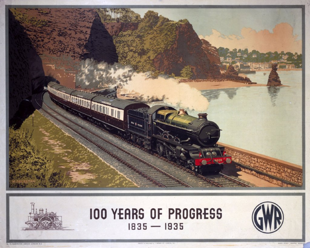 Stock Photo: 1895-1016 '100 Years of Progress, 1835-1935', GWR poster, 1935.