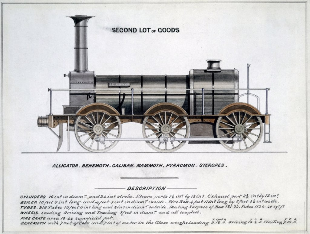´Second Lot of Goods´, steam locomotive, 1857. : Stock Photo