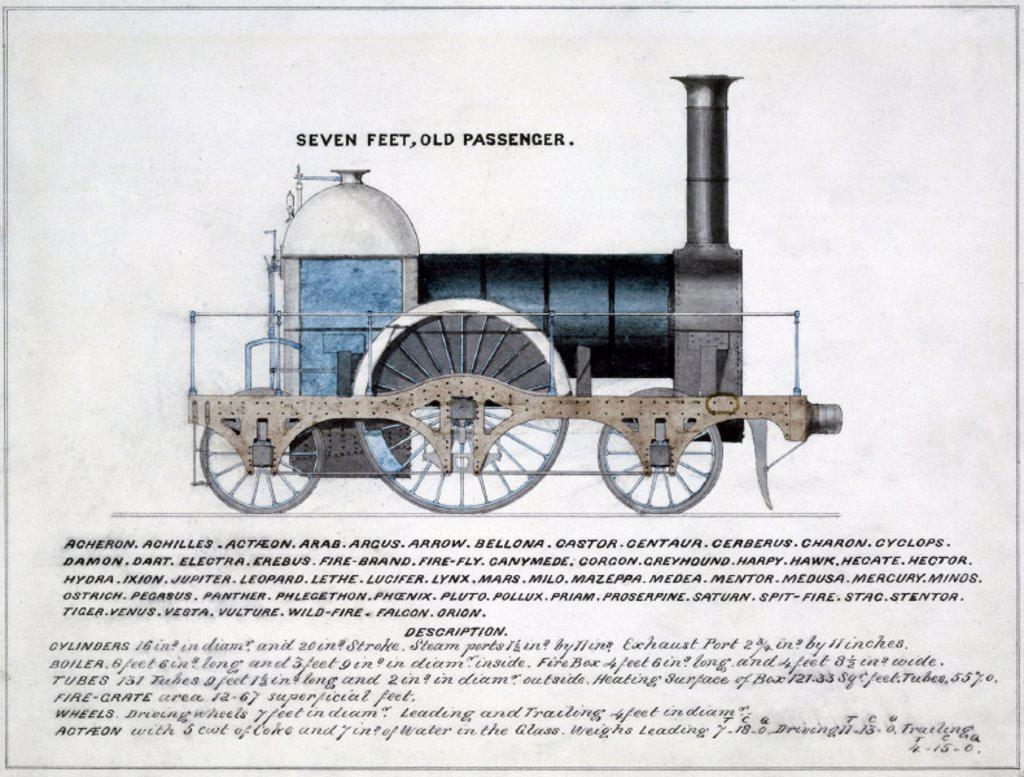 ´Seven Feet, Old Passenger´, steam locomotive, 1857. : Stock Photo