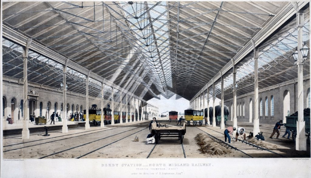 Stock Photo: 1895-10485 Interior view of Derby Station, Derbyshire, 1830-1844.