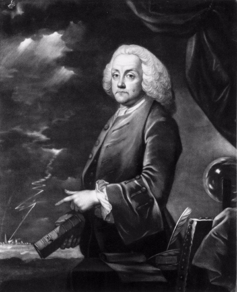 Benjamin Franklin, American theorist on static electricity, c 1740s. : Stock Photo