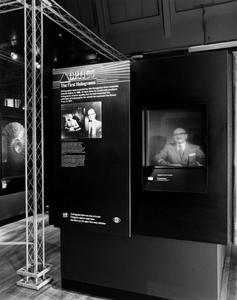 Exhibition showing image of Dennis Gabor, British inventor of holography, 1988. : Stock Photo