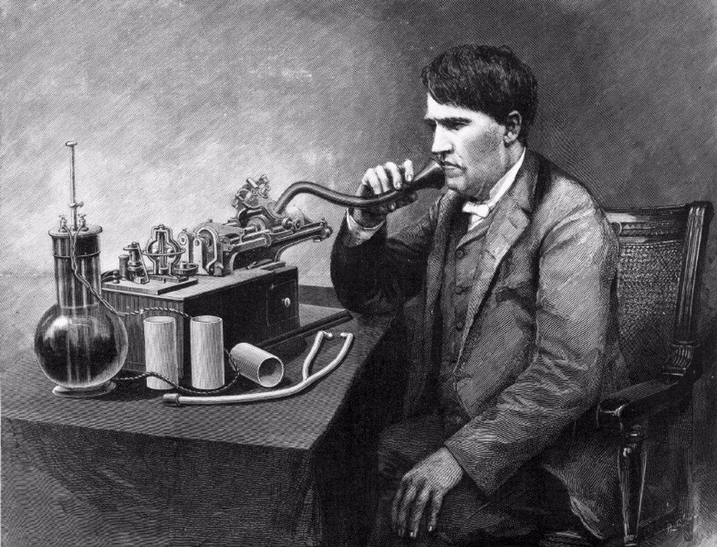 Thomas Edison, American inventor, 1888 : Stock Photo
