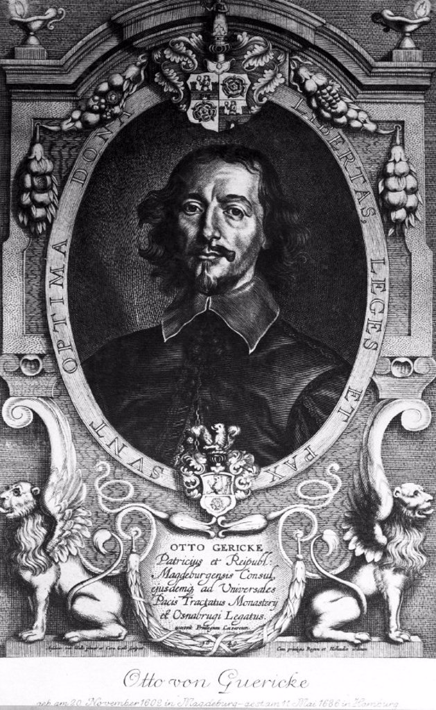 Otto von Guericke, German physicist and inventor, 1649. : Stock Photo