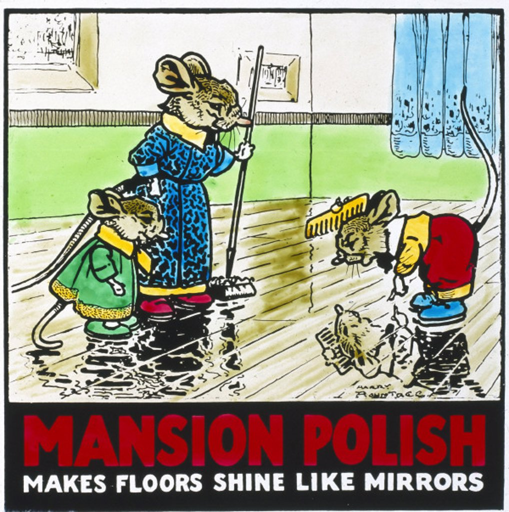Stock Photo: 1895-10702 ´Mansion Polish - Makes Floors Shine like Mirrors´, poster, 1950s.